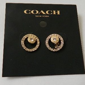 COCH  Pave Halo Stud Earrings in Gold NWTs